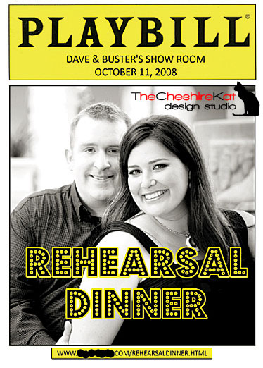 The outside of our rehearsal dinner invitation - a Playbill program.