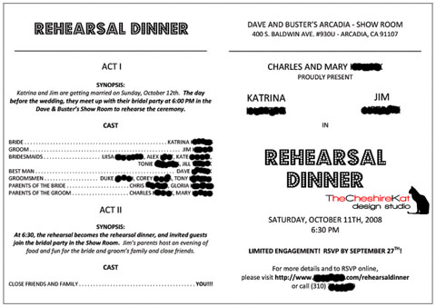 The inside of our rehearsal dinner invitation, with all of the necessary information.