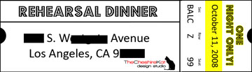 The ticket label for our return address; the mailing address was printed on a similar but larger version of the same label.