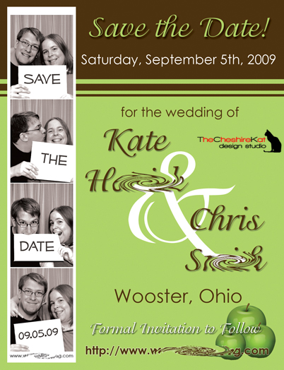 The completed Save the Date card.