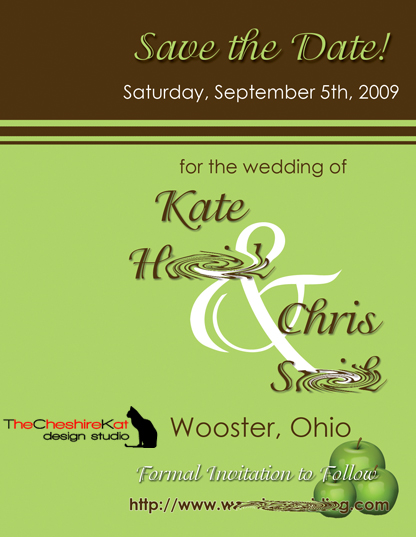 The Save the Date Postcard, with blank space on the left side for the magnet.
