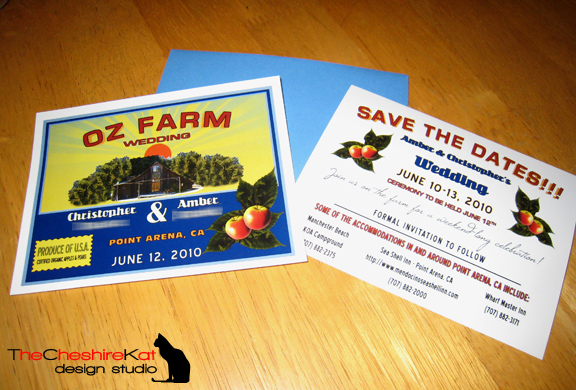 The printed card, front and back, with the coordinating envelope.