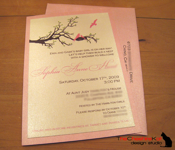Erin's shower invitation, with coordinating printed envelope.
